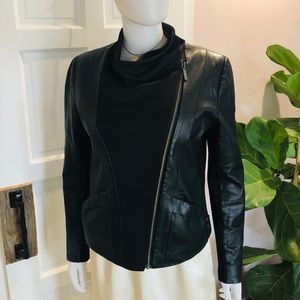 Cop. Copine Aviator Leather Moto Jacket Small